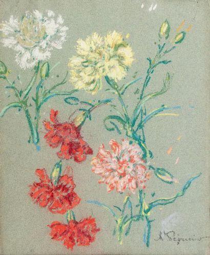 Auguste PEGURIER (1856 - 1936) Pastel carnations...