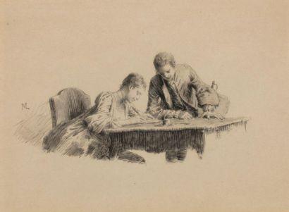 Ernest MEISSONIER (1815 - 1891) Deux élégants Gravure sur papier 10,5 x 14,4 cm...