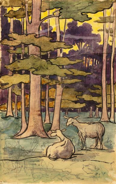 Paul LANGLOIS (1858 - 1906) Sheep in an undergrowth Watercolour and ink on paper...
