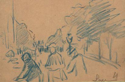 Maximilien LUCE (Paris 1858 - Rolleboise 1941) Characters in a street Blue pencil...