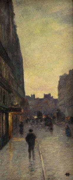 Henri SOMM (Rouen 1844 - Paris 1907) Street animated at dusk Oil on canvas original...