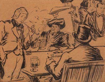 Henri Gabriel IBELS ( 1967-1936 Coffee scene...