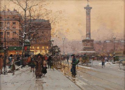 Eugène GALIEN- LALOUE (Paris 1854 - Chérence 1941) Place de la Bastille animated...