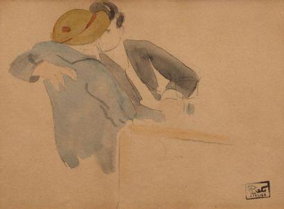 Fernand PIET (Paris 1869 - 1942) Couple Aquarelle...