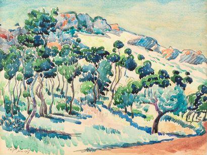 Roger GRILLON (1881 - 1938) Paysage de Provence,...