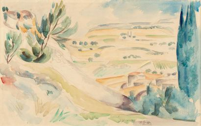Roger GRILLON (1881 - 1938) Paysage Aquarelle...