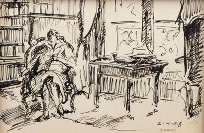 Roger GRILLON (1881 - 1938) Femme au salon...