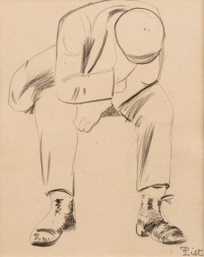 Fernand PIET (Paris 1869 - 1942) Homme assis...