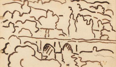Louis VALTAT (Dieppe 1869 - Paris 1952) Landscape at the bridge Feather and brown...