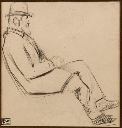 Fernand PIET (Paris 1869 - 1942) Personnage barbu assis Dessin au crayon 18,8 x...