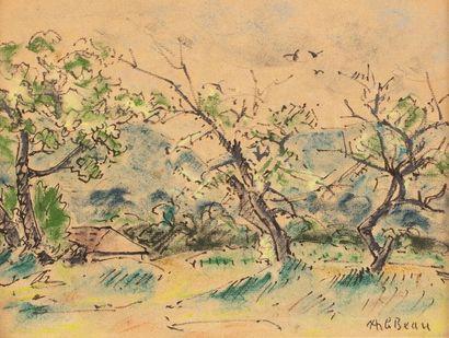 Alcide LE BEAU (Lorient 1872-1943) Paysage...