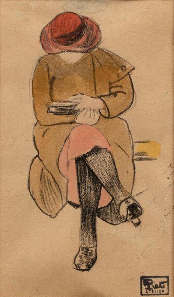 Fernand PIET (Paris 1869 - 1942) Sitting woman reading Pencil, black chalk and watercolor...