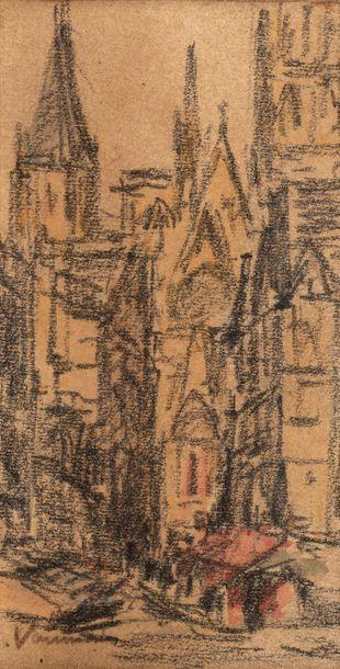 Maurice VAUMOUSSE (1876-1961) Cathédrale...