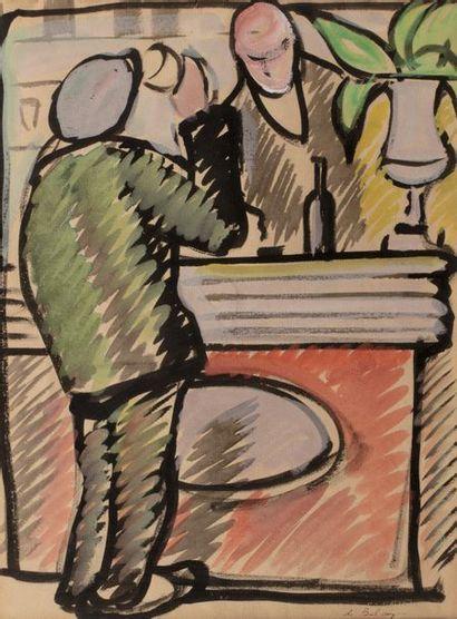 Pierre DE BELAY (Quimper 1890 - Ostend 1947) Man drinking at the counter of a café...