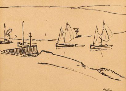 Maurice ASSELIN (1882-1947) Vue de port Encre...