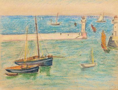 Jean PUY (Roanne 1876 - 1960) Bateau au port...