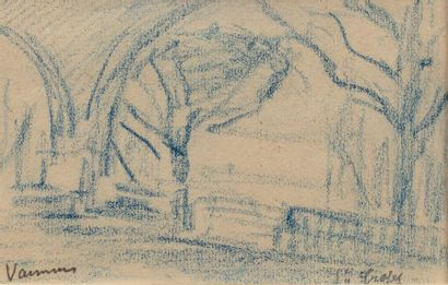 Maurice VAUMOUSSE (1876-1961) Arbres et viaduc...