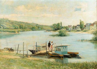 Léon PELTIER (1843 - 1912) Couple en bord...