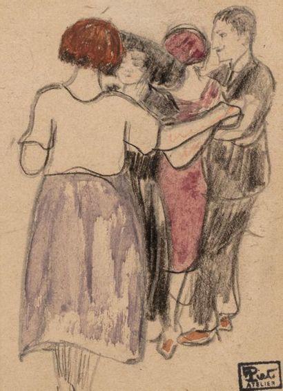 Fernand PIET (Paris 1869 - 1942) Danseurs mondains Fusain et aquarelle sur papier...