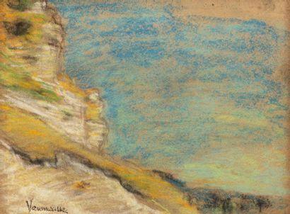 Maurice VAUMOUSSE (1876-1961) Saint Adrien Pastel on paper 14 x 19 cm Signed lower...