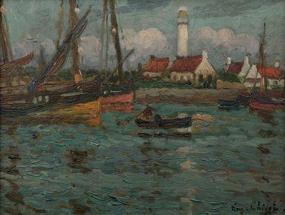 Eugène CHIGOT (Valenciennes 1860- Paris 1923) Port View Oil on board mounted on...