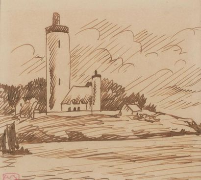 Adolphe Marie BEAUFRERE (Quimperle 1876 - Lamor Plage 1960) The lighthouse Ink on...