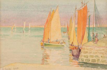 Elisabeth SONREL (Tours 1874 - 1953) Le Croisic, 1928 Watercolor and pencil on paper...