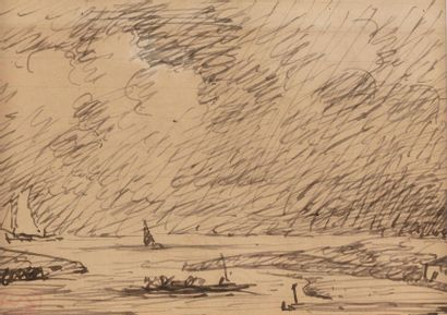 Adolphe Marie BEAUFRERE (Quimperle 1876 - Lamor Plage 1960) Seaside and boat Pen...