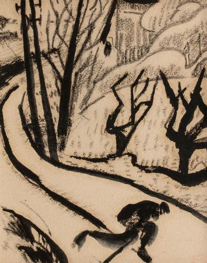 Adolphe Marie BEAUFRERE (Quimperle 1876 - Lamor Plage 1960) Character on a path...