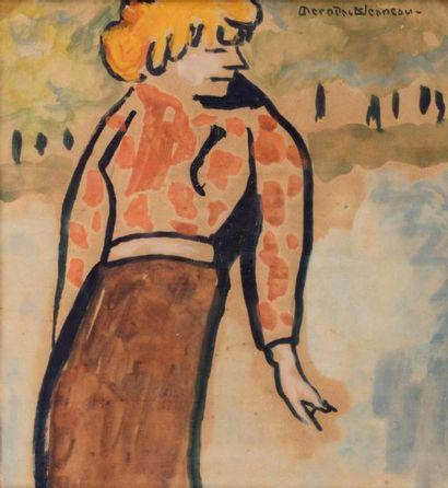 Alexis MERODACK-JEANEAU (Angers 1873-1919) Désinvolture (femme) Gouache et aquarelle...