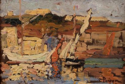 Henri PERSON (Amiens 1876- Paris 1926) Fishing port Oil on panel a non parquet board...