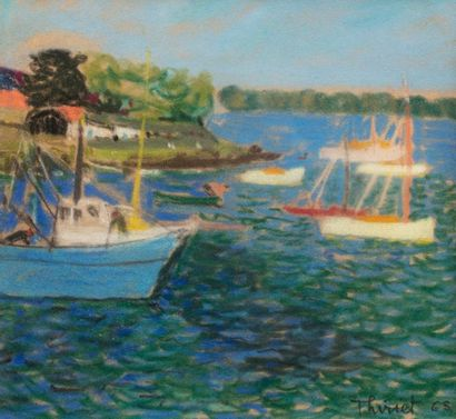 Alberte THIRIET (Active in the 20th century) Fishing port, 1965 Pastel on paper...