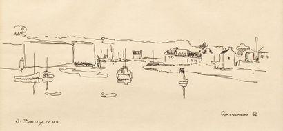 Jacques BOUYSSOU (La Rivière Saint Sauveur 1926 - 1997) Concarneau, 1962 Ink on...