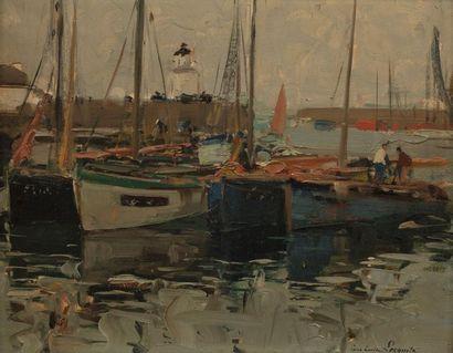 Paul Emile LECOMTE (Paris 1877 - 1950) Port Joinville Oil on one board non parquet...
