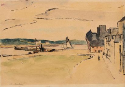 Maurice ASSELIN (1882-1947) Concarneau Ink and watercolour on paper 24 x 34 cm Signed...