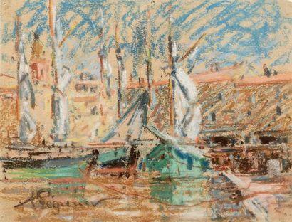 Auguste PEGURIER (1856 - 1936) Port of Saint Tropez Pastel on paper 12,5 x 16 cm...