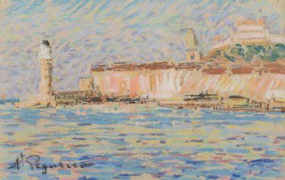 Auguste PEGURIER (1856 - 1936) Port of Saint Tropez Pastel on paper 14,4 x 21,8...