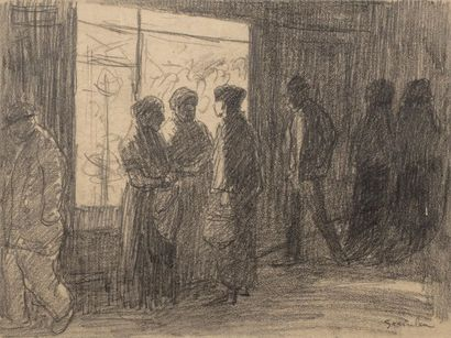 Théophile Alexandre STEINLEN (1859-1923) Characters in front of a shop Charcoal...