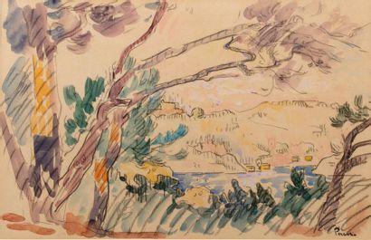 Henri PERSON (Amiens 1876- Paris 1926) Saint-Tropez, le golfe Watercolour and charcoal...