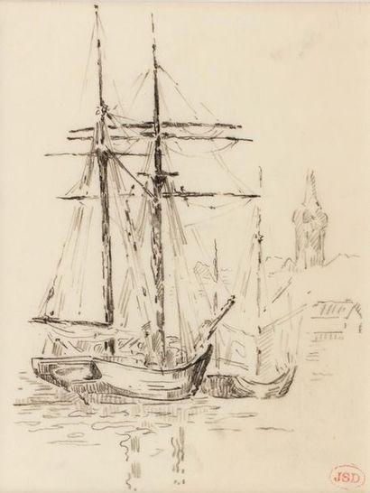 Jeanne SELMERSHEIM-DESGRANGE (1877 - 1958) Boats in the port of Saint-Tropez Charcoal...