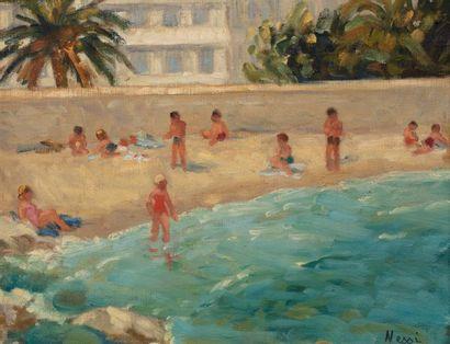 Marie Lucie NESSI-VALTAT (Paris 1910- Villers le Bel 1992) Baigneurs à Juan-les-pins...