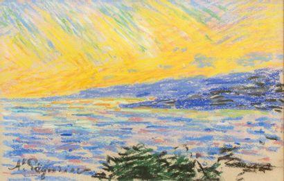 Auguste PEGURIER (1856 - 1936) Pastel sunset on paper 15,5 x 24,5 cm Signed lower...