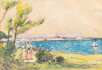 Léon DUVAL - GOZLAN (Paris 1853 -Saint Pierre de Quiberon 1941) Deux élégantes en...