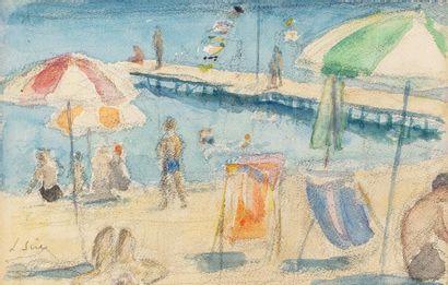 Louis SUE (Paris 1875-1968) Sur la plage,...