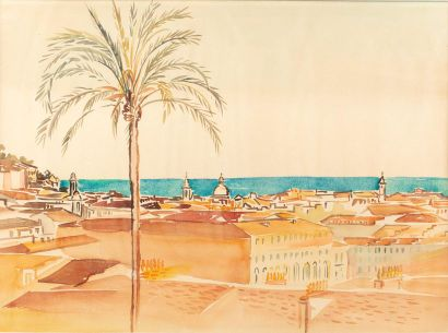Geneviève Marie GALLIBERT (1988-1978) Nice, les ponchettes Watercolour on paper...