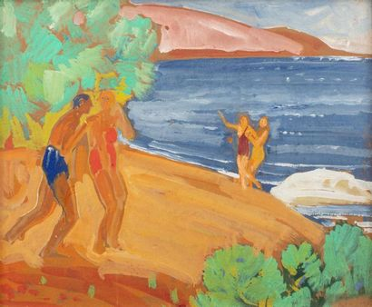 Paul CHARAVEL (1877-1961) Seaside swimmers Gouache on cardboard 36,5 x 44,5 cm at...
