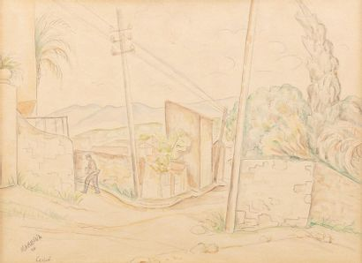 Marie VOROBIEFF MAREVNA (Tcheboksary 1892-London 1984) Rue du Canet, 1946 Watercolour...