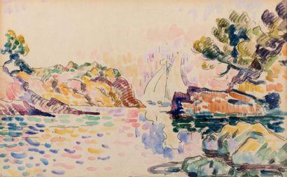 Henri PERSON (Amiens 1876- Paris 1926) La calanque rouge, 1904 Watercolour on paper...