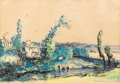 Léon DUVAL - GOZLAN (Paris 1853 -Saint Pierre de Quiberon 1941) Beaulieu Watercolor...