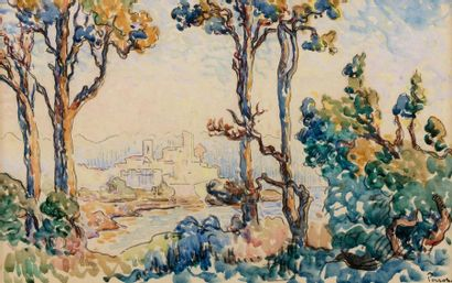 Henri PERSON (Amiens 1876- Paris 1926) Trees in front of Antibes Watercolor and...
